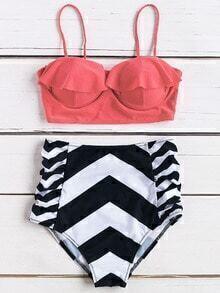 Chevron Print Ruffle Design High Waist Bikini Set