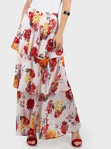 Floral Tiered Maxi Skirt IVORY