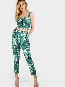 Front Tie Leaf Print Crop and Matching Pants Set