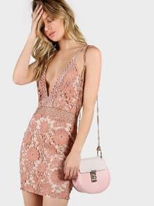 Lace Overlay Spaghetti Strap Dress BLUSH NUDE