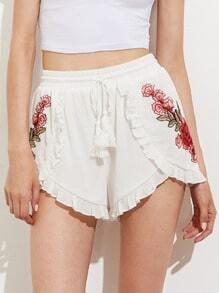 Tasseled Drawstring Ruffle Trim Embroidered Applique Wrap Shorts