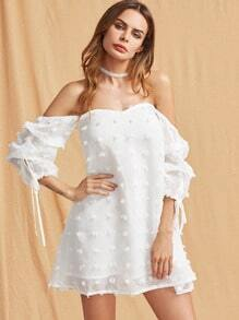 Self Tie Ruched Sleeve Frayed Jacquard Sweetheart Dress