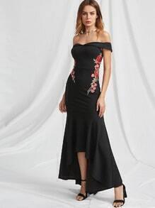 Foldover Bardot Neck Embroidered Rose Applique Fishtail Dress