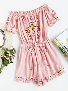 Frill Trim Drawstring Waist Embroidered Bardot Playsuit
