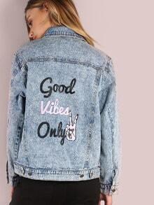 Mineral Washed Good Vibes Only Denim Jacket DENIM