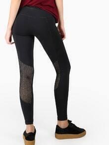 Perforated Mesh Activewear Leggings BLACK