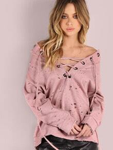 Distressed Lace Up Hoodie MAUVE