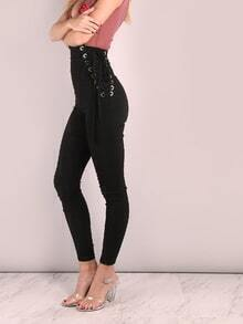 High Waisted Eyelet Strap Skinny Pants BLACK