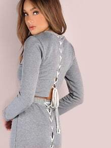 Cross Laced Back Cropped Pullover HEATHER GREY