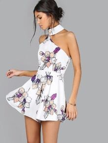 One Shoulder Floral Dress MULTI