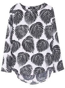 Black Long Sleeve Leaves Print Dipped Hem Blouse