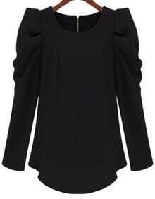 Black Puff Sleeve Zipper Slim Blouse
