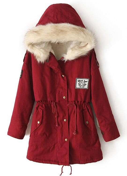 Red Fur Hooded Zipper Embellished Fleece Inside Military Coat ...
