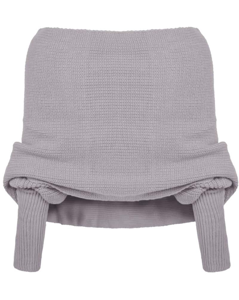 Grey Off the Shoulder Crop Knit Sweater EmmaCloth-Women Fast ...