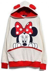 White Red Long Sleeve Mickey Hooded Sweatshirt