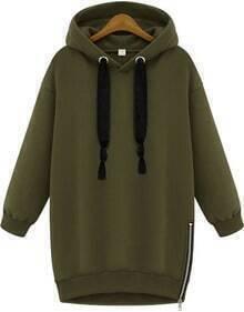 Green Hooded Long Sleeve Zipper Loose Sweatshirt