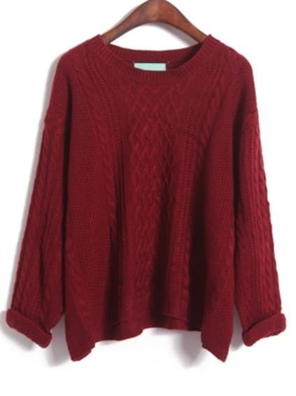 Wine Red Batwing Long Sleeve Cable Knit Sweater EmmaCloth-Women ...