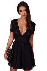 Black Deep V Neck Lace Pleated Dress