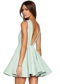 Green Sleeveless V Back Flare Dress