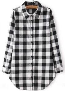 Black Buttons Long Sleeve Checks Plaid Blouse