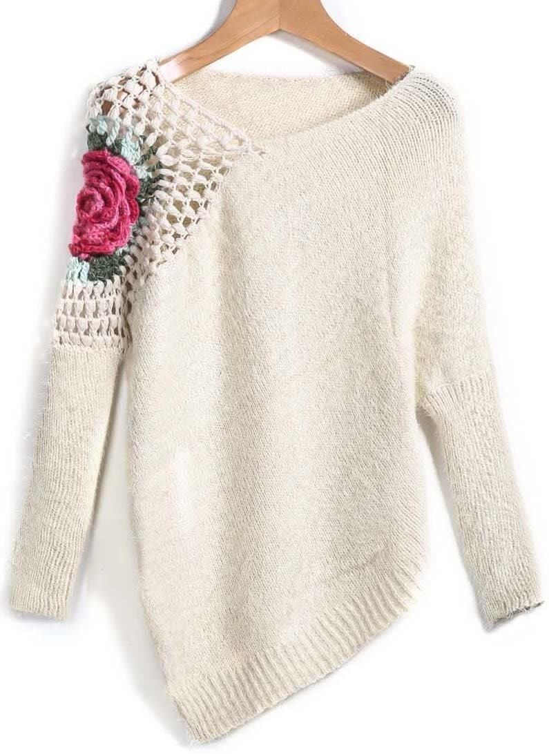 Apricot Round Neck Floral Crochet Loose Sweater EmmaCloth-Women Fast ...