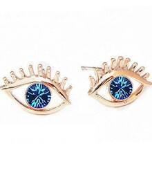 Blue Gemstone Gold Eye Earrings