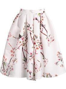 White Floral Pleated Skirt