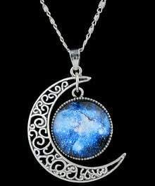 Blue Gemstone Hollow Moon Necklace