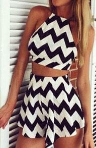 Criss Cross Back Top With Zigzag Skirt
