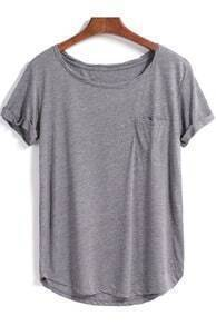 Grey Short Sleeve Pocket Loose Blouse