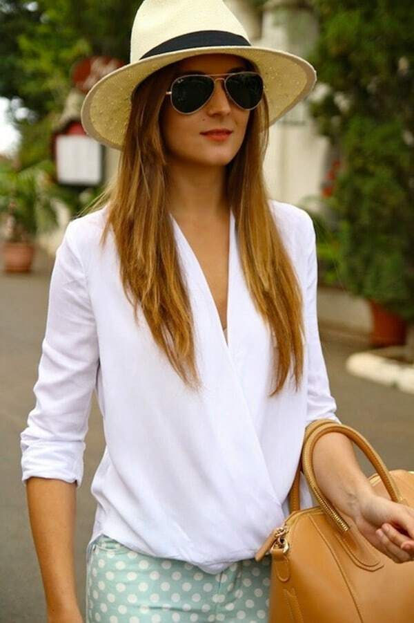 White V Neck Dip Hem Loose Blouse EmmaCloth-Women Fast Fashion Online