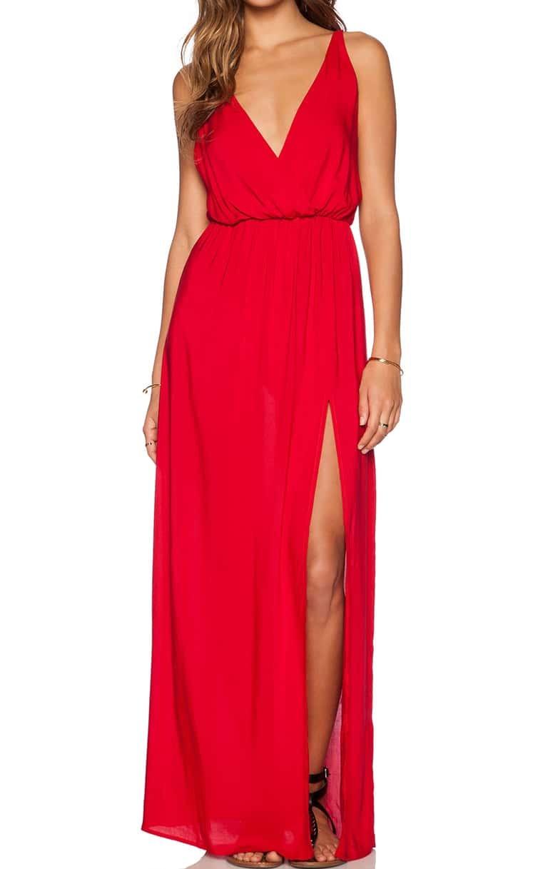 Red Deep V Maxi Dress