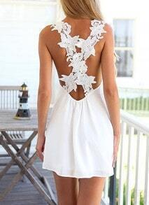 White Crossback Lace Criss Cross Back Mini Dress
