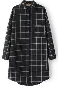 Lapel Dip Hem Plaid Windowpane Black Blouse