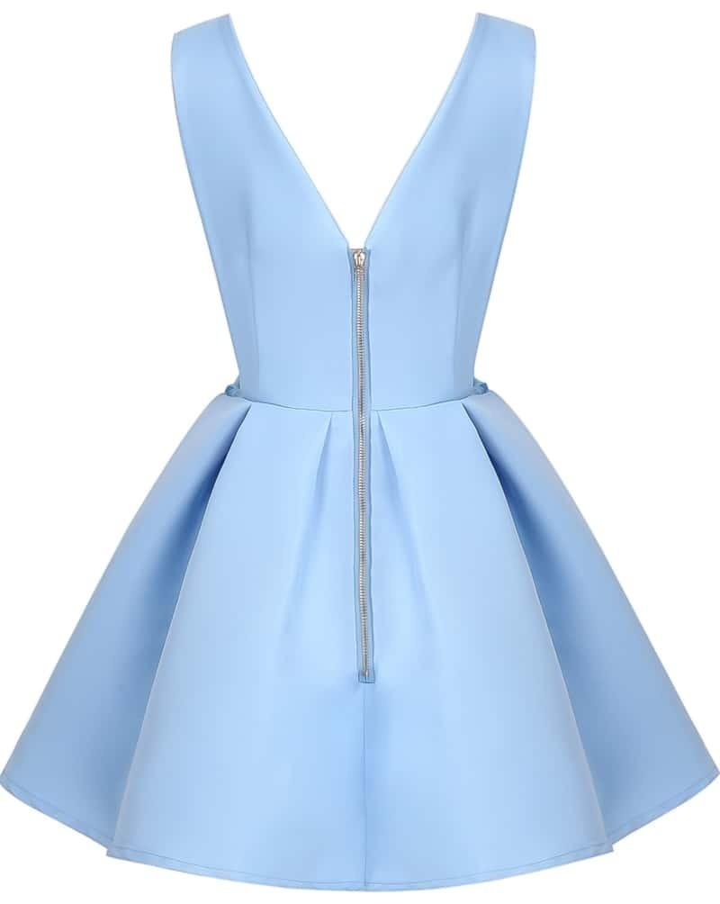Light Blue V Neck Dress