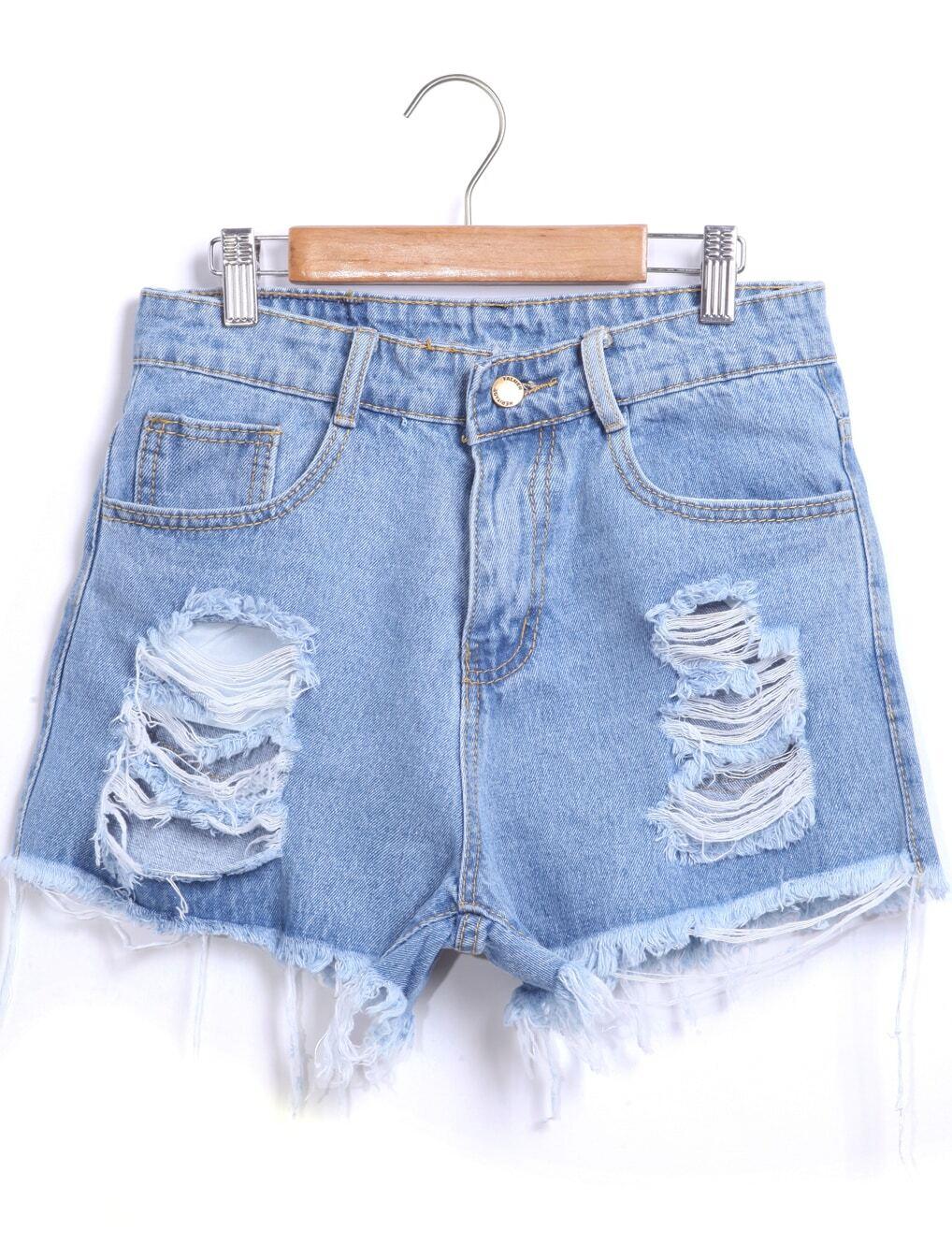 blue ripped fringe denim shorts emmacloth women fast fashion online. Black Bedroom Furniture Sets. Home Design Ideas