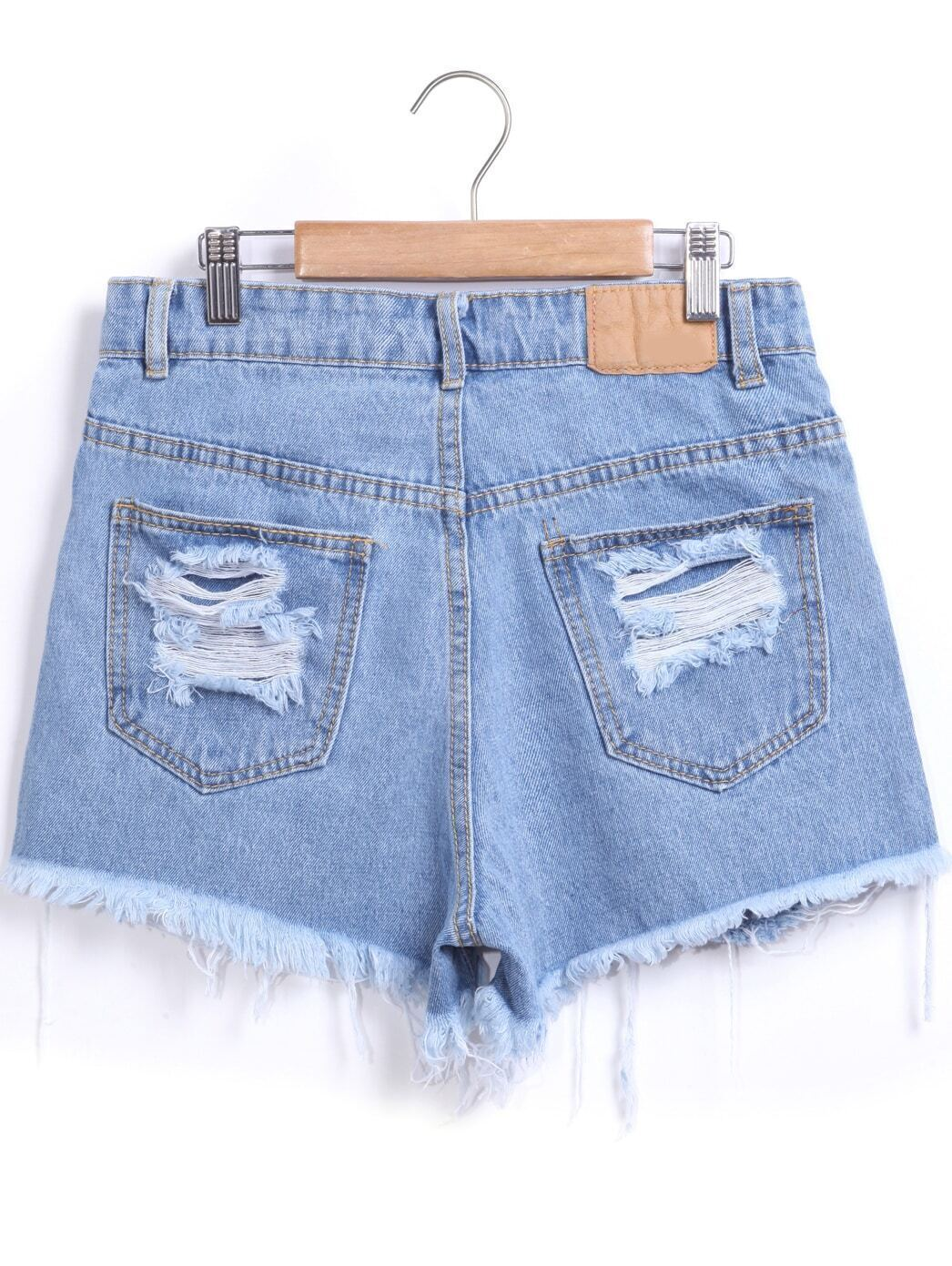 Blue Ripped Fringe Denim Shorts EmmaCloth-Women Fast Fashion Online
