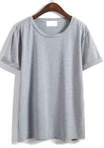 Cuffed Loose Grey T-shirt