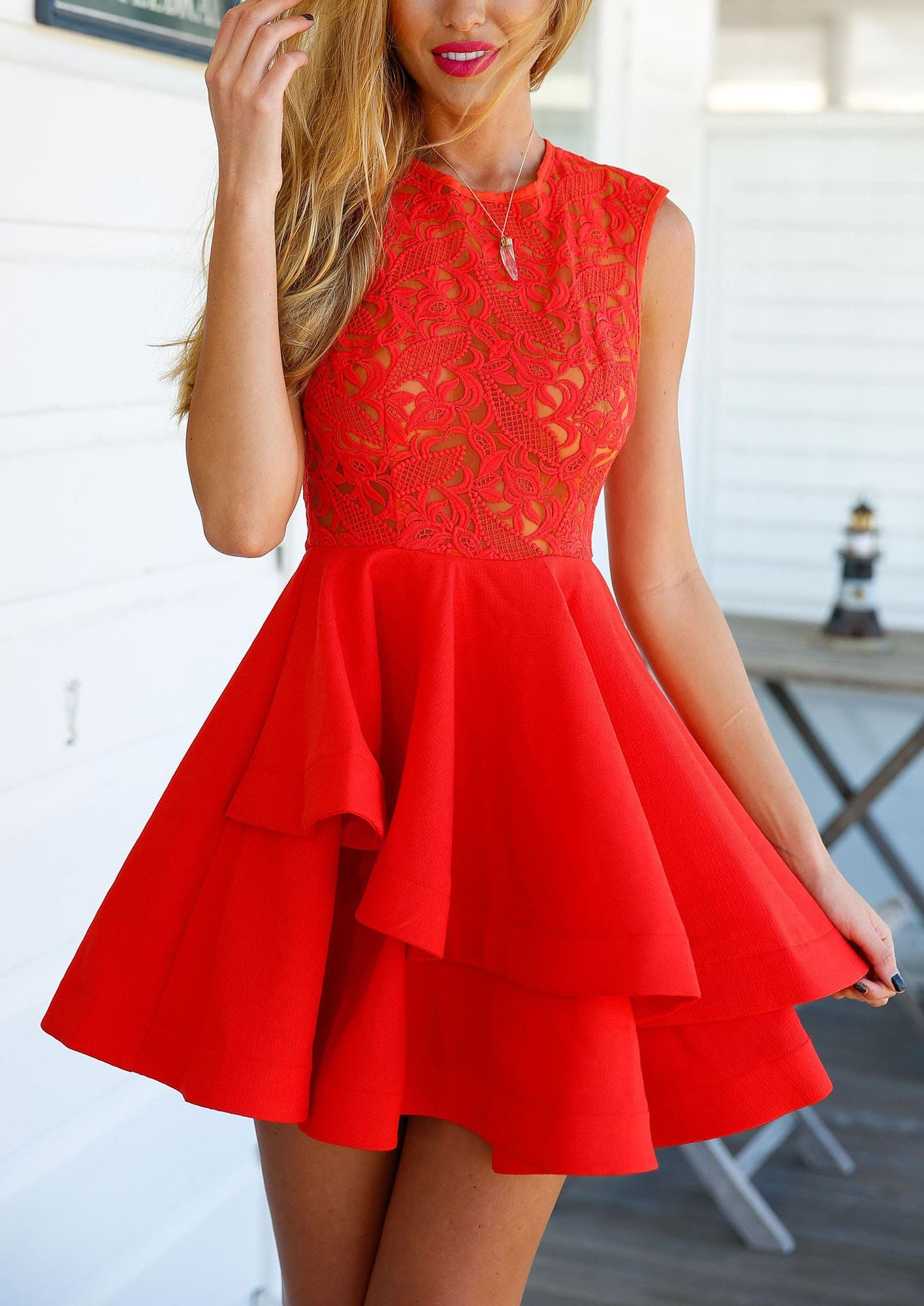 With zipper lace insert flare red underskirt drop waist for Robe rouge évasée