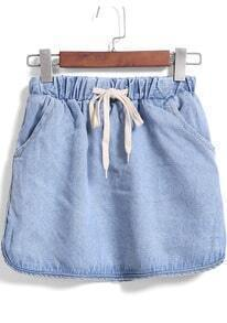 Blue Drawstring Waist Denim Skirt