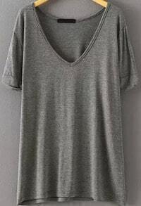 V Neck Loose Grey T-shirt