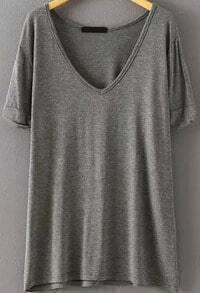 V Neck Loose Grey T-shirt
