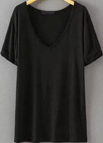 V Neck Loose Black T-shirt EmmaCloth-Women Fast Fashion Online