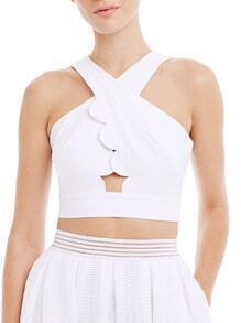White Sleeveless Backless Crop Top
