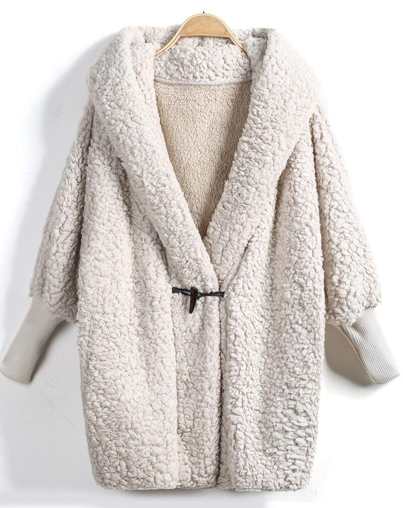 Apricot Hooded Batwing Long Sleeve Loose Coat EmmaCloth-Women Fast ...