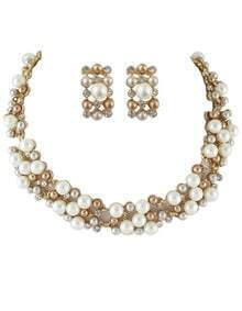 Costume Jewelry Fake Pearl Women Necklace Earrings Set