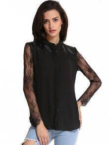 Black Contrast Lace Long Sleeve Blouse
