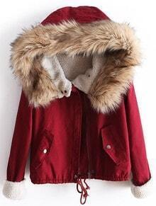 Red Fur Hooded Long Sleeve Drawstring Coat