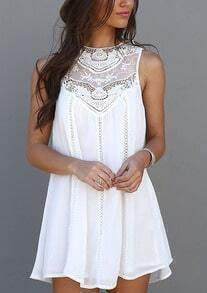 White Appliques Sleeveless With Lace Dress