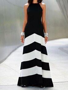 Black White Monochrome Evening Sleeveless Striped Ankle Length Dress